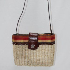 Brighton Woven Straw & Leather Gingham Lining
